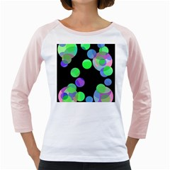Green Decorative Circles Girly Raglans by Valentinaart