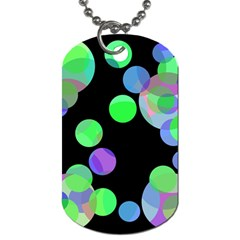 Green Decorative Circles Dog Tag (two Sides) by Valentinaart