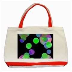 Green Decorative Circles Classic Tote Bag (red) by Valentinaart