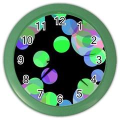Green Decorative Circles Color Wall Clocks by Valentinaart