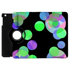 Green Decorative Circles Apple Ipad Mini Flip 360 Case by Valentinaart