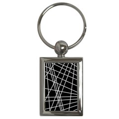 Black And White Simple Design Key Chains (rectangle)  by Valentinaart