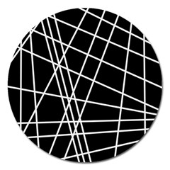 Black And White Simple Design Magnet 5  (round) by Valentinaart