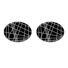 Black And White Simple Design Cufflinks (oval) by Valentinaart