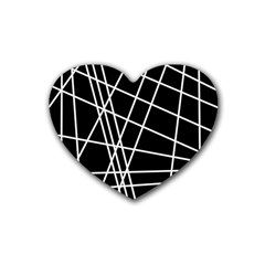 Black And White Simple Design Rubber Coaster (heart)  by Valentinaart