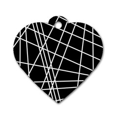 Black And White Simple Design Dog Tag Heart (two Sides) by Valentinaart