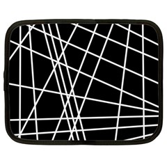 Black And White Simple Design Netbook Case (large) by Valentinaart