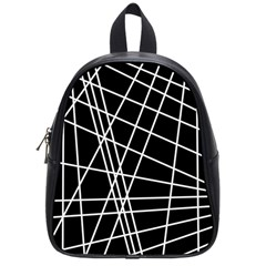 Black And White Simple Design School Bags (small)  by Valentinaart