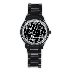 Black And White Simple Design Stainless Steel Round Watch by Valentinaart