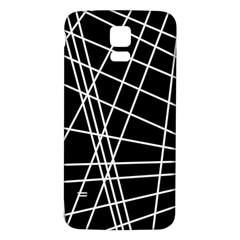 Black And White Simple Design Samsung Galaxy S5 Back Case (white) by Valentinaart