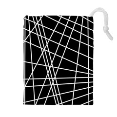 Black And White Simple Design Drawstring Pouches (extra Large) by Valentinaart