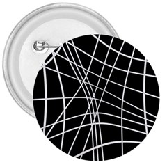 Black And White Elegant Lines 3  Buttons by Valentinaart