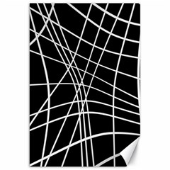 Black And White Elegant Lines Canvas 20  X 30   by Valentinaart