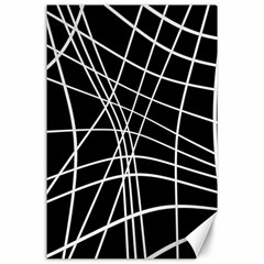 Black And White Elegant Lines Canvas 24  X 36  by Valentinaart