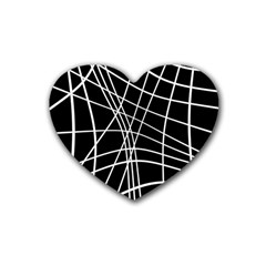 Black And White Elegant Lines Rubber Coaster (heart)  by Valentinaart
