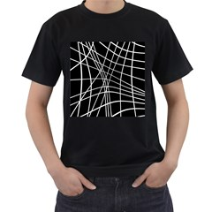 Black And White Elegant Lines Men s T Shirt (black) by Valentinaart