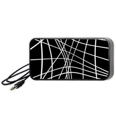 Black And White Elegant Lines Portable Speaker (black)  by Valentinaart