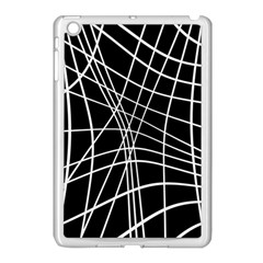 Black And White Elegant Lines Apple Ipad Mini Case (white) by Valentinaart
