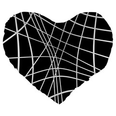 Black And White Elegant Lines Large 19  Premium Heart Shape Cushions by Valentinaart