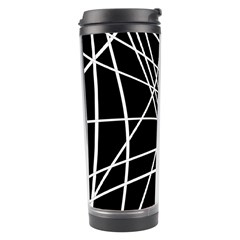 Black And White Elegant Lines Travel Tumbler by Valentinaart