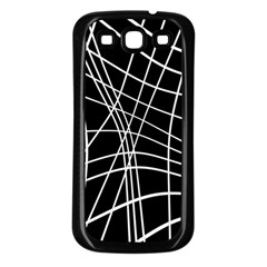 Black And White Elegant Lines Samsung Galaxy S3 Back Case (black) by Valentinaart