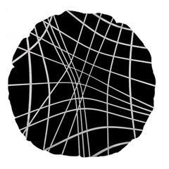 Black And White Elegant Lines Large 18  Premium Flano Round Cushions by Valentinaart