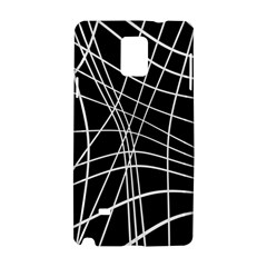 Black And White Elegant Lines Samsung Galaxy Note 4 Hardshell Case by Valentinaart