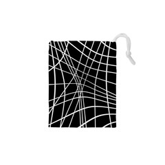 Black And White Elegant Lines Drawstring Pouches (xs)  by Valentinaart