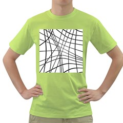Black And White Decorative Lines Green T Shirt by Valentinaart