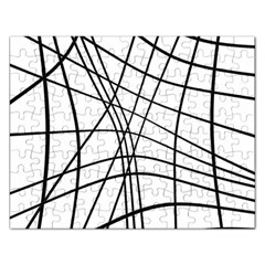 Black And White Decorative Lines Rectangular Jigsaw Puzzl by Valentinaart