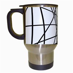 Black And White Decorative Lines Travel Mugs (white) by Valentinaart