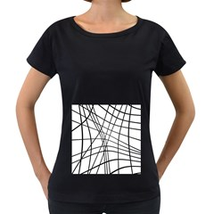 Black And White Decorative Lines Women s Loose Fit T Shirt (black) by Valentinaart