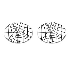Black And White Decorative Lines Cufflinks (oval) by Valentinaart