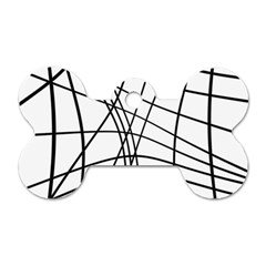 Black And White Decorative Lines Dog Tag Bone (one Side) by Valentinaart