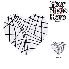Black And White Decorative Lines Multi Purpose Cards (heart)  by Valentinaart