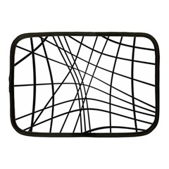 Black And White Decorative Lines Netbook Case (medium)  by Valentinaart