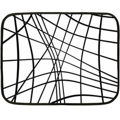 Black And White Decorative Lines Fleece Blanket (mini) by Valentinaart