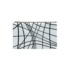 Black And White Decorative Lines Cosmetic Bag (small)  by Valentinaart