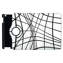 Black And White Decorative Lines Apple Ipad 2 Flip 360 Case by Valentinaart