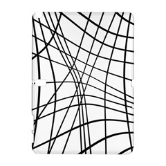 Black And White Decorative Lines Samsung Galaxy Note 10 1 (p600) Hardshell Case by Valentinaart
