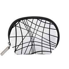 Black And White Decorative Lines Accessory Pouches (small)  by Valentinaart