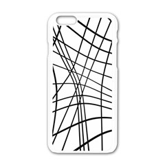 Black And White Decorative Lines Apple Iphone 6/6s White Enamel Case by Valentinaart