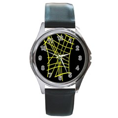 Yellow Abstraction Round Metal Watch by Valentinaart