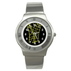 Yellow Abstraction Stainless Steel Watch by Valentinaart