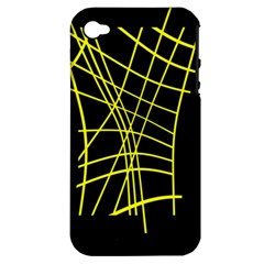 Yellow Abstraction Apple Iphone 4/4s Hardshell Case (pc+silicone) by Valentinaart