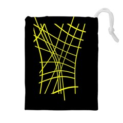 Yellow Abstraction Drawstring Pouches (extra Large) by Valentinaart