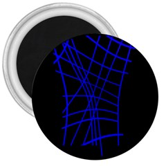 Neon Blue Abstraction 3  Magnets by Valentinaart
