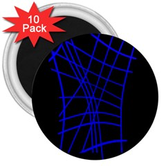 Neon Blue Abstraction 3  Magnets (10 Pack)  by Valentinaart