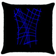 Neon Blue Abstraction Throw Pillow Case (black) by Valentinaart