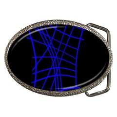 Neon Blue Abstraction Belt Buckles